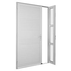 Porta de Abrir Alumifort Lambri Horizontal com Seteira 216x130x 5,4cm  Esquerda Branca  Ref:76350736 - Sasazaki