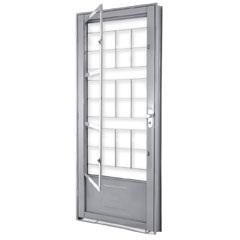 Porta de Abrir com Postigo E Grade Quadrada Esquerda 215x90x6,5 Ref. 1360.1 - Lucasa