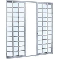 Porta de Correr Central com Divisão Alumifit 216x200cm Branca - Sasazaki