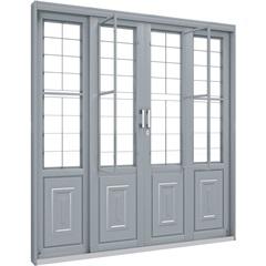Porta de Correr Central com Grade Quadrado Premium 213x200cm Cinza