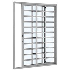 Porta de Correr Esquerda com Divisão Horizontal Alumifort 216,5x200,5cm Branca - Sasazaki