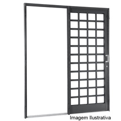 Porta de Correr Quadriculada 1 Folha Silenfort 217x180x7cm Esquerda - Ref.: 69511511  - Sasazaki