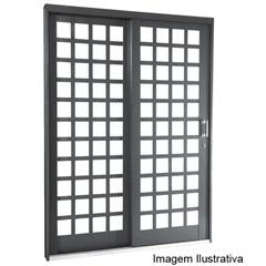 Porta de Correr Quadriculada 2 Folhas Silenfort 217x160x12cm Esquerda Ref.:69511619 - Sasazaki