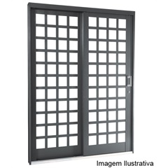 Porta de Correr Quadriculada 217x160x12cm Direita - Ref: 69511600 - Sasazaki