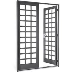 Porta Direita com Grade Quadriculada Silenfort 217x140cm Cinza