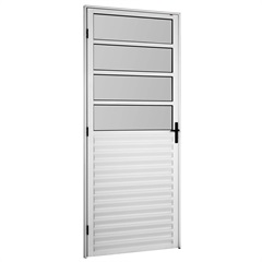 Porta em Alumínio Direita 4 Vidros Mini Boreal Bari Branca 2,10 X 0,86m - Ebel