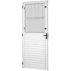 Porta em Alumínio Esquerda Viena New Vidro Mini Boreal Branca 210x86cm  - Ebel
