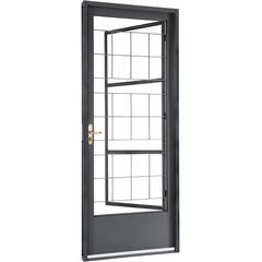 Porta Esquerda com Grade Quadriculada Belfort 217x87x8cm Cinza - Sasazaki