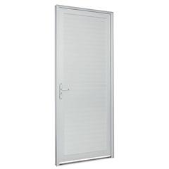 Porta Laminada com Lambri Horizontal Alumifort Branca 216 X 88cm Direita - Sasazaki