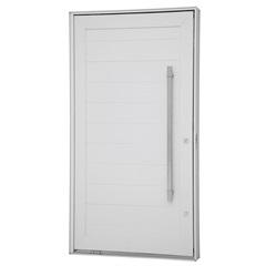 Porta Pivotante Esquerda com Lambri Horizontal E Puxador Aluminium 243,5x146,2cm Branca - Sasazaki