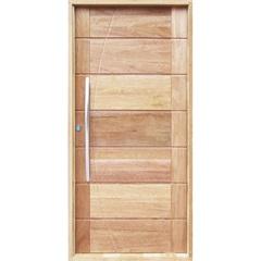 Porta Pivotante Maciça Montada Direita com Frisos Cedro Arana 210x100cm - Sidney Esquadrias