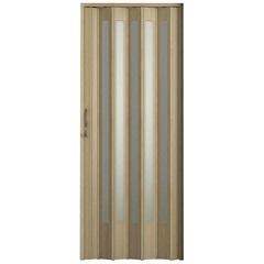Porta Sanfonada Plus Translúcida com Puxador E Trinco 210x96cm Carvalho Prata - BCF
