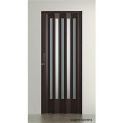 Porta  Sanfonada Translúcida Plus Wengué com Trinco 2,10x96cm Ref. 04404-13
