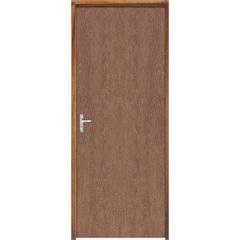 Porta Semi Oca Montada Direita Imbuia Lisa 210x72cm com Batente de 9cm Marrom - Sidney Esquadrias