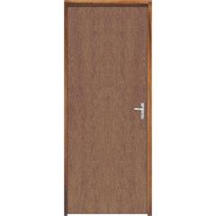 Porta Semi Oca Montada Esquerda Imbuia Lisa 210x62cm com Batente de 9cm Marrom - Sidney Esquadrias