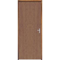 Porta Semi Oca Montada Esquerda Imbuia Lisa 210x72cm com Batente de 9cm Natural - Sidney Esquadrias