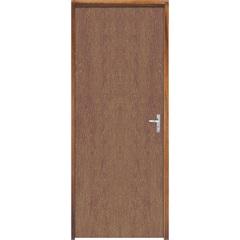 Porta Semi Oca Montada Esquerda Imbuia Lisa 210x82cm com Batente de 9cm Natural - Sidney Esquadrias