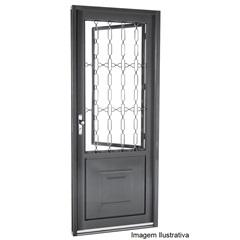 Porta Social de Abrir com Grade Elo Silefort  2,17 X0,88m Direita - Ref: 66112500   - Sasazaki