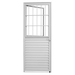 Porta Social de Abrir com Postigo 2,15x87cm Esquerda Branca - Sasazaki