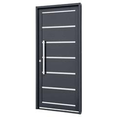 Porta Social Direita com Friso E Lambri Horizontal Silenfort 217x88cm Cinza - Sasazaki