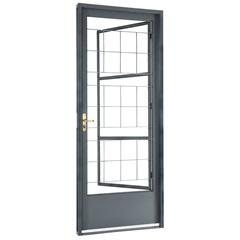Porta Social Direita com Postigo E Grade Quadriculada Belfort 217x87cm Cinza - Sasazaki