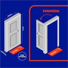 Porta Social Esquerda com Postigo E Grade Quadriculada Belfort 217x87cm Cinza - Sasazaki