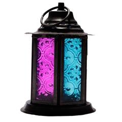 Porta Vela Lanterna Pink E Azul 12x8,5cm