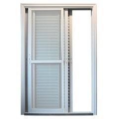 Porta Veneziana 3 Folhas com Tela sem Travessa 215x160 Branca com Vidro Temperado Incolor - EPROS