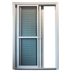 Porta Veneziana 3 Folhas sem Travessa 215x160 Branca com Vidro Temperado Verde - EPROS