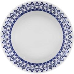 Prato Fundo Donna Grécia 21cm Azul E Branco - Biona