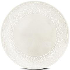 Prato Raso de Cerâmica Redondo Relieve Branco - Corona