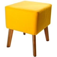 Puff com Pés de Madeira Quadrado 37x45cm Amarelo