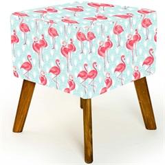 Puff com Pés de Madeira Quadrado Flamingo 37x45cm Azul E Rosa - Decorglass