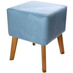 Puff com Pés de Madeira Quadrado Índigo 37x45cm Azul
