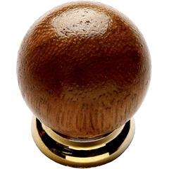Puxador em Madeira com Base Plástica Bola Mogno E Dourado Pequeno - Fixtil