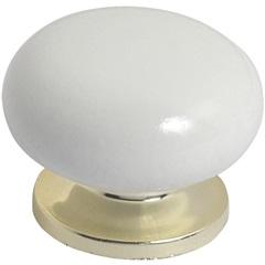 Puxador em Madeira com Base Plástica Praiano Branco E Dourado Pequeno
