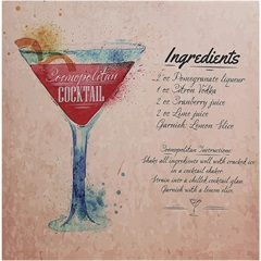 Quadro de Madeira Cocktail Cosmopolitan 40x40cm - Importado