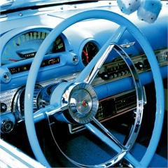 Quadro Decorativo em Vidro Car Vintage Volante Azul 50x50cm