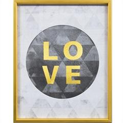 Quadro em Mdf com Moldura Love 50x40cm Branco E Preto
