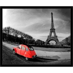 Quadro Paris Preto E Branco Carro Vermelho 59x49cm - Euroquadros
