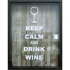 Quadro Porta Rolha 32x42 Keep Calm And Drink Winer - Kapos
