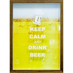 Quadro Porta Tampa 27x37 Keep Calm And Drink Beer - Kapos