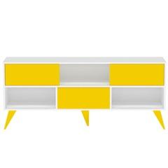 """Rack Retrô com 3 Divisões para Tv de 56"""" Amarelo E Branco - Multivisão"""