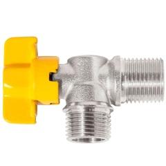 Registro de Latão Niquelado para Gás 90º com Fechamento em Esfera Ref.:180205    - Blukit