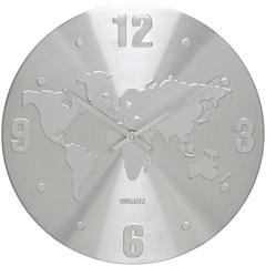 Relógio de Parede em Alumínio Redondo Mapa 30cm Cromado - Importado