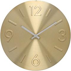 Relógio de Parede em Alumínio Redondo Mapa 30cm Dourado - Importado