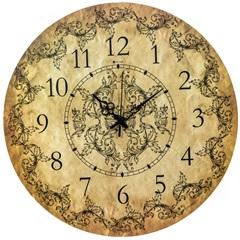 Relógio de Parede em Mdf Redondo Imperial 45cm Bege - Zdecor