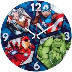 Relógio de Parede em Vidro Redondo Os Vingadores 30cm - Importado