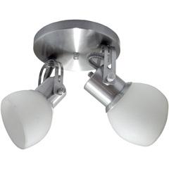 Spot Alumínio Lixado E Vidro Fosco para 2 Lâmpadas - Spot Line