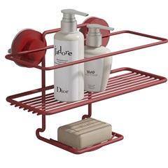 Suporte para Shampoo E Sabonete Fixaclick Vermelho - Domo House